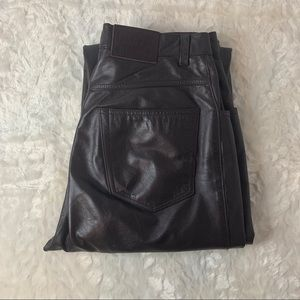 Ralph Lauren 100% Leather Chocolate Brown Pants